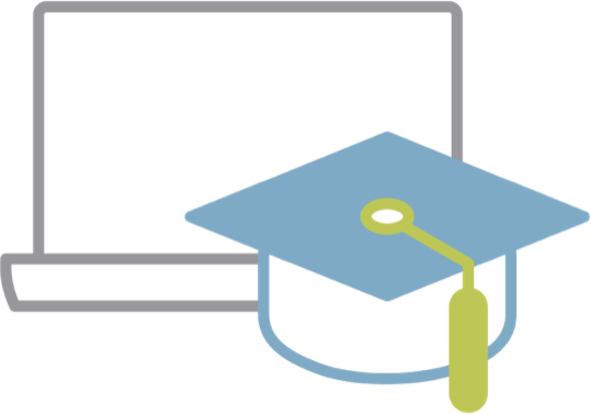 icon: graduation cap in front of an open laptop