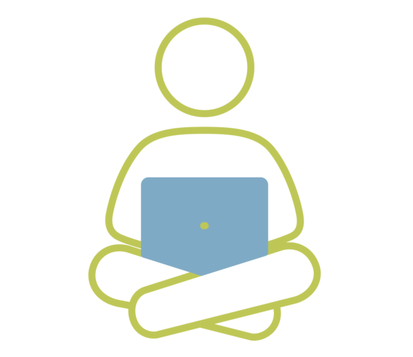 icon of person sitting cross-legged with a laptop in their lap