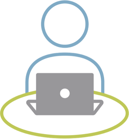 Icon: person sitting at a round table top with a laptop open